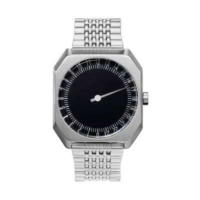 slow Jo 02 - One hand watch, all silver steel, black dial - Swiss Made