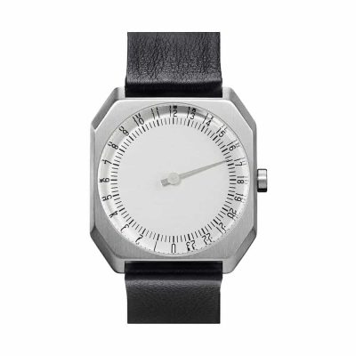 slow Jo 05 - Single Hand watch - Silver octagon case, black leather band