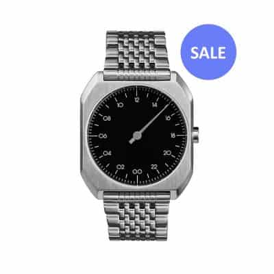 slow Mo 02 - One hand watch, all silver steel, black dial - Swiss Made - sale