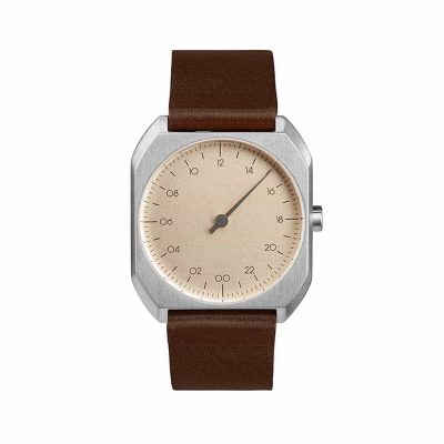 slow Mo 08 - swiss - 24 h-onehand watch - Silver octagon case, brown leather strap
