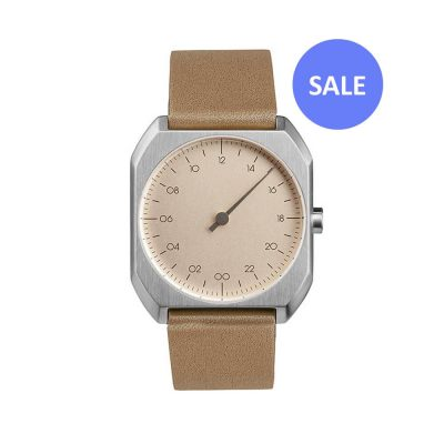slow Mo 09 - Swiss One-hand watch - Silver octagon case, beige leather strap - sale
