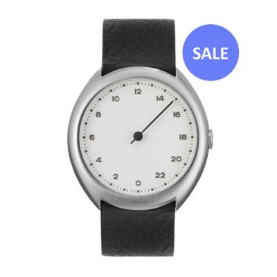 slow O 04 - silver Swiss 24 hour one hand wrist watch, stainless steel case, black leather band - Front SALE