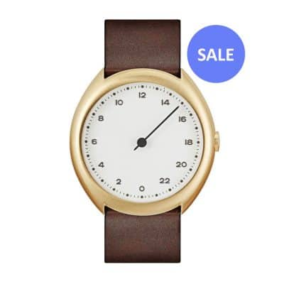 slow O 12 - Swiss one hand watch - Gold octagon case, dark brown - sale