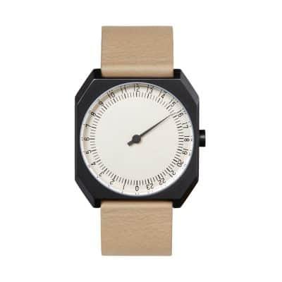 slow Jo 29 - One-hand watch, black octagon case, beige leather - Swiss Made-1